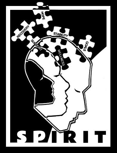 spirit logo border text